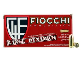 Fiocchi Range Dynamics 95 gr Full Metal Jacket .380 ACP Ammo, 1000 Rounds - 380ARD10