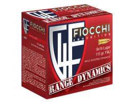 Fiocchi Range Dynamics 115 gr Full Metal Jacket 9mm Ammo, 1000 rds - 9ARD