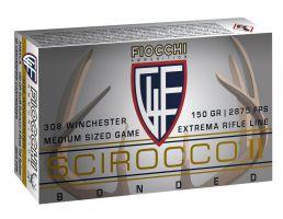 Fiocchi Extrema 150 gr Swift Scirocco II Boat Tail Spitzer .308 Win Ammo, 20/box - 308SCA