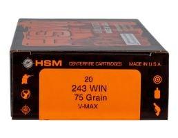 HSM Ammunition Varmint 75 gr V-Max .243 Win Ammo, 20/box - HSM-243-2-N