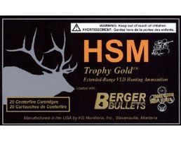 HSM Ammunition Trophy Gold 168 gr Match Hunting Very Low Drag .300 Weatherby Mag Ammo, 20/box - BER-300WBY168VLD