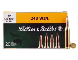Sellier & Bellot 100 gr Semi-Jacketed Soft Point .243 Win Ammo, 20/box - SB243A