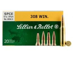 Sellier & Bellot 180 gr Semi-Jacketed Soft Point .308 Win/7.62 Ammo, 20/box - SB308C