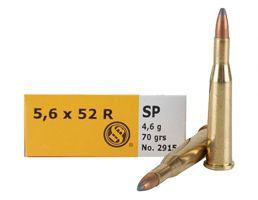 Sellier & Bellot 70 gr Semi-Jacketed Soft Point 5.6mmx52R Ammo, 20/box - SB5652RA