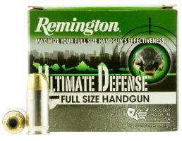 Remington Ultimate Defense Full-Size Handgun 185 gr Brass Jacket Hollow Point .45 ACP Ammo, 20/box - HD45APC