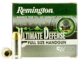 Remington Ultimate Defense Full-Size Handgun 185 gr Brass Jacket Hollow Point .45 ACP Ammo, 20/box - HD45APA