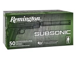 Remington Subsonic 147 gr Flat Nose Enclosed Base 9mm Ammo, 50/box - S9MM9