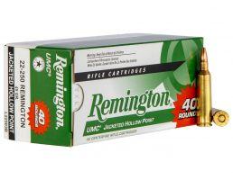 Remington UMC 45 gr Jacketed Hollow Point .25-250 Rem Ammo, 40/box - L22503B