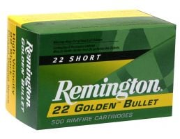 Remington 22 Golden Bullet 29 gr Plated Lead Round Nose .22 Short Ammo, 100/box - 1000