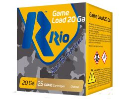 """RIO Game Load Field Load 2.75"""" 20 Gauge Ammo 8, 25 Rounds - RC208"""