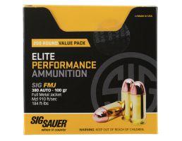 Sig Sauer Elite Ball 100 gr Full Metal Jacket .380 Auto Ammo, 200 Rounds - E380B1200