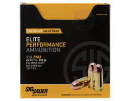 Sig Sauer Elite Ball 230 gr Full Metal Jacket .45 ACP Ammo, 200 Rounds - E45BA3200