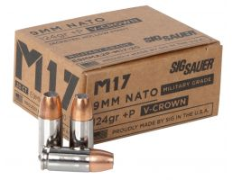 Sig Sauer Elite Performance V-Crown 124 gr Jacketed Hollow Point 9mm +P Ammo, 20/box - E9MMA2PM1720