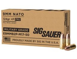 Sig Sauer Elite Ball 124 gr Full Metal Jacket 9mm +P Ammo, 50/box - E9MMB2PM1750