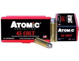 Atomic Ammunition 200 gr Lead Round Nose Flat Point .45 Colt Ammo, 50/box - 00434