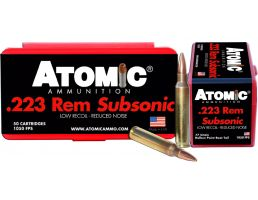 Atomic Ammunition Subsonic 77 gr Hollow Point Boat Tail .223 Rem/5.56 Ammo, 50/box - 429