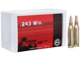Geco Target 105 gr Full Metal Jacket .243 Win Ammo, 20/box - 244440020