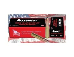 Atomic Ammunition Subsonic 260 gr Round Nose Soft Point Boat Tail MatchKing .300 Blackout Ammo, 20/box - 478