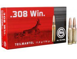 Geco Teilmantel 170 gr Soft Point .308 Win Ammo, 20/box - 242840020