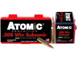 Atomic Ammunition Subsonic 175 gr Sierra MatchKing Hollow Point Boat Tail .308 Win/7.62 Ammo, 50/box - 430