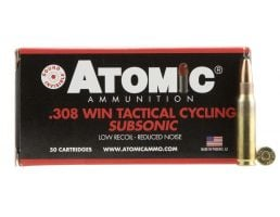 Atomic Ammunition Tactical Cycling Subsonic 260 gr Soft Point Round Nose .308 Win/7.62 Ammo, 50/box - 472
