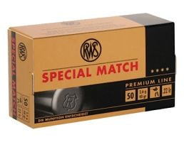 RWS Rottweil Special Match 40 gr Lead Round Nose .22lr Ammo, 50/pack - 2134233