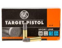 RWS Rottweil Target Pistol 40 gr Lead Round Nose .22lr Ammo, 50/pack - 2132710