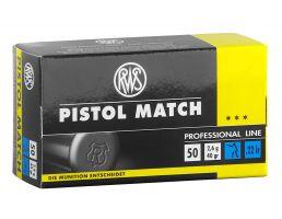 RWS Rottweil Pistol Match 40 gr Lead Round Nose .22lr Ammo, 50/pack - 2132443