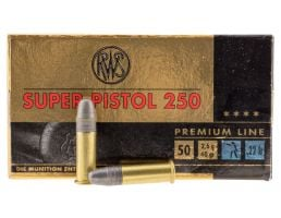 RWS Rottweil Super Pistol 250 40 gr Lead Round Nose .22lr Ammo, 50/pack - 2315570