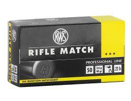 RWS Rottweil Rifle Match 40 gr Lead Round Nose .22lr Ammo, 50/pack - 2134225