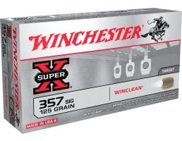 Winchester Ammunition Super-X 125 gr WinClean (Brass Enclosed Base) .357 Sig Ammo, 50/box - WC357SIG
