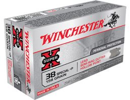 Winchester Ammunition Super-X 158 gr Lead Semi Wad Cutter Hollow Point .38 Spl +P Ammo, 50/box - X38SPD