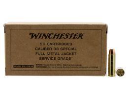 Winchester Ammunition Service Grade 130 gr Full Metal Jacket Flat Nose .38 Spl Ammo, 50/box - SG38W