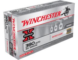 Winchester Ammunition Super-X 95 gr WinClean (Brass Enclosed Base) .380 Auto Ammo, 50/box - WC3801