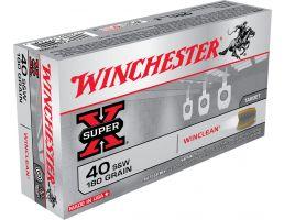Winchester Ammunition Super-X 180 gr WinClean (Brass Enclosed Base) .40 S&W Ammo, 50/box - WC402