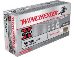 Winchester Ammunition Super-X 115 gr WinClean (Brass Enclosed Base) 9mm Ammo, 50/box - WC91