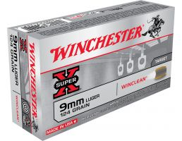 Winchester Ammunition Super-X 124 gr WinClean (Brass Enclosed Base) 9mm Ammo, 50/box - WC92