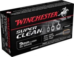 Winchester Ammunition Super Clean 90 gr Full Metal Jacket 9mm Ammo, 50/box - W9MMLF
