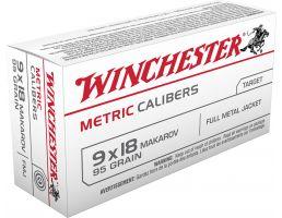 Winchester Ammunition USA 95 gr Full Metal Jacket 9mm Makarov Ammo, 50/box - MC918M