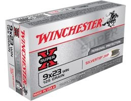 Winchester Ammunition Super-X 125 gr Silvertip Jacketed Hollow Point 9x23mm Win Ammo, 50/box - X923W
