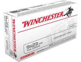 Winchester Ammunition USA 124 gr Jacketed Soft Point 9x23mm Win Ammo, 50/box - Q4304