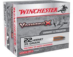 Winchester Ammunition Varmint-X 35 gr Rapid Expansion .22 Hornet Ammo, 20/box - X22P