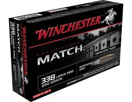 Winchester Ammunition Match 250 gr Sierra MatchKing Boat Tail Hollow Point .338 Lapua Mag Ammo, 20/box - S338LM