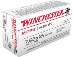 Winchester Ammunition USA Metric 85 gr Full Metal Jacket 7.62x25mm Tokarev Ammo, 50/box - MC762TOK