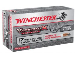 Winchester Ammunition Varmint-X Lead Free 15 gr Rapid Expansion .17 WSM Ammo, 50/box - X17W15PLF