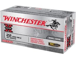 Winchester Ammunition Super-X 40 gr Power-Point Hollow Point Copper-Plated .22lr Ammo, 50/box - X22LRPP