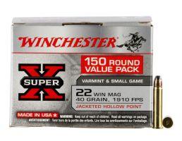 Winchester Ammunition Super-X 40 gr Jacketed Hollow Point .22 WMR Ammo, 150/box - X22MH150
