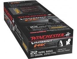 Winchester Ammunition Varmint-HV 30 gr Jacketed Hollow Point .22 WMR Ammo, 50/box - S22M2
