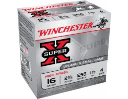 "Winchester Ammunition Super-X High Brass 2.75"" 16 Gauge Ammo 4, 25/box - X16H4"