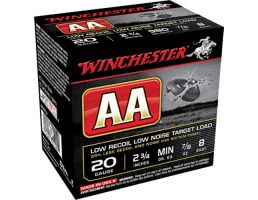 "Winchester Ammunition AA Low Recoil Low Noise 2.75"" 20 Gauge Ammo 8, 25/box - AA20FL8"